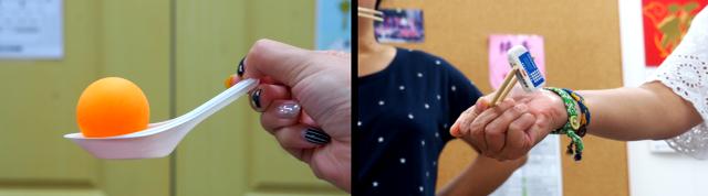 利用簡單的器具來訓練學生手眼協調;利用有限的材料,當天老師們用橡皮擦替代花豆示範遊戲流程。